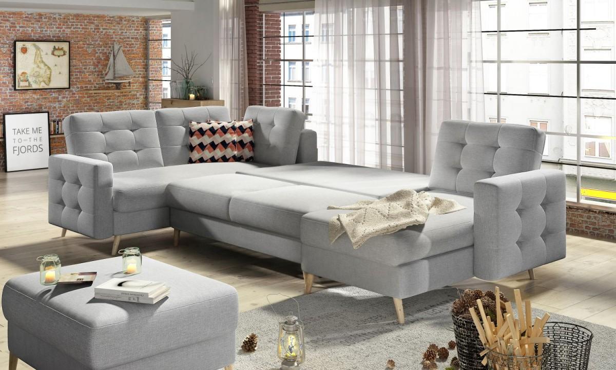 U Shaped Corner Sofa Bed with Storage ASGARD
