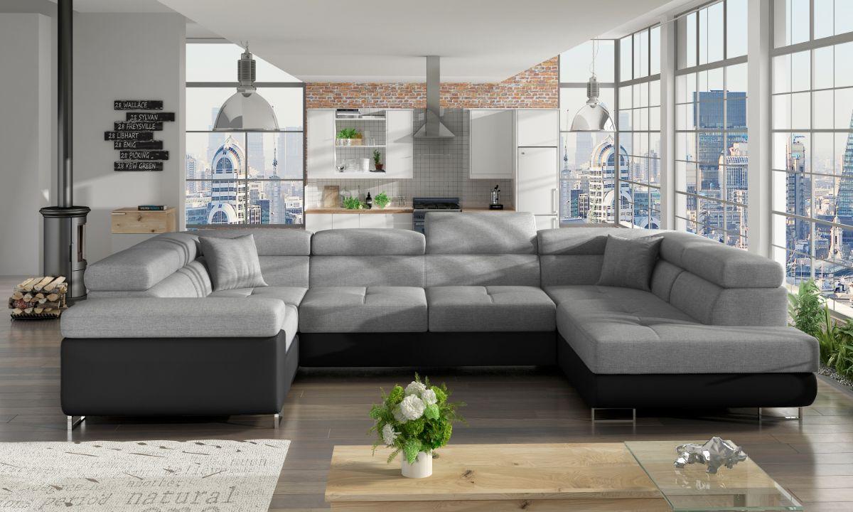Modern U Shaped Upholstered Corner Sofa Bed with Storage ...