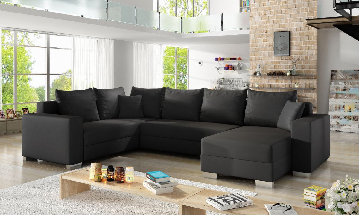 U Shaped Upholstered Sofa Bed with Storage MARCO