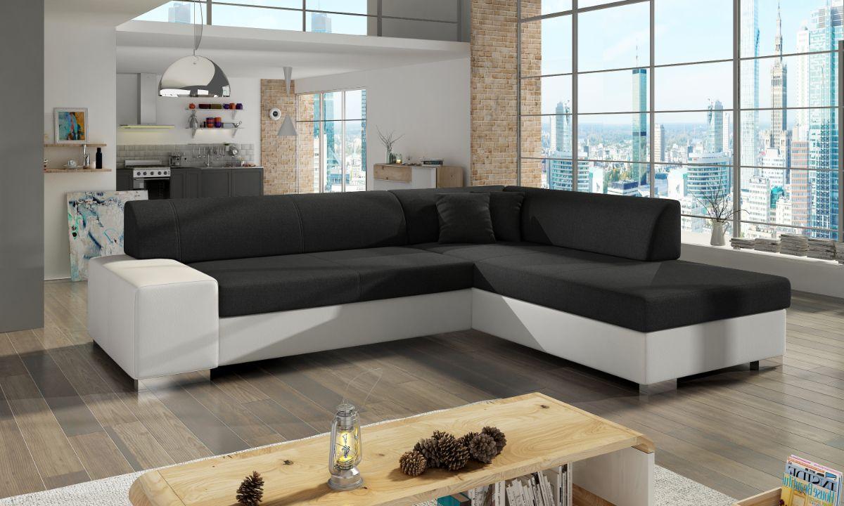 L Shaped Upholstered Corner Sofa Bed with Storage PORTO